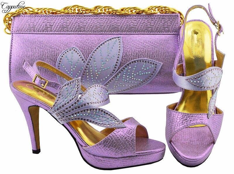 Incroyable lumière pourpre talon haut talon dame sandale chaussures et sac à main pour le mariage/partie MM1068 talon hauteur 10.5 cm