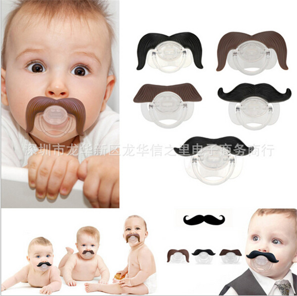 2016 Lovely beard Silicone Baby Pacifier Dummy Infants Soother Joke Prank Toddler Pacy Orthodontic Nipples Teether Pacifier Clip image