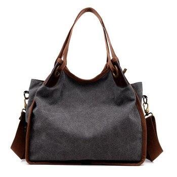 cf9c877ddf53b Moda Kadın askılı çanta tuval katı vintage klasik kadın omuzdan askili çanta  çapraz-vücut çanta gençlik kız casual tote çanta