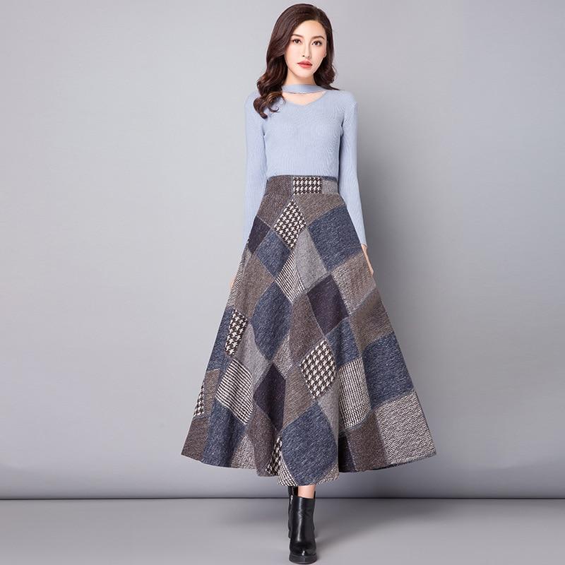 Nantersan Autumn Winter Long Skirts Womens Maxi Skirt High Waist Warm Wool Elegant Office Lady Plaid Skirt