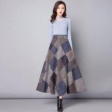 Nantersan outono inverno saias longas das mulheres maxi saia de cintura alta lã quente elegante escritório senhora saia xadrez