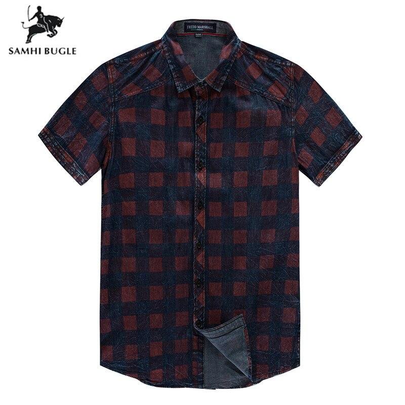 USA Size M-XXXL 2019 Summer Men Short Sleeve Casual Shirt Cotton Plaid Denim Shirt Social Business Shirt Men Checked Shirts