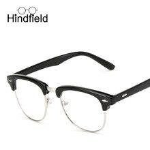 Hindfield Nueva Moda Gafas Ópticas Marco Mujeres Hombres Ronda Retro gafas de Marco de Metal Espejo Plano Anteojos Decoración gafas de sol