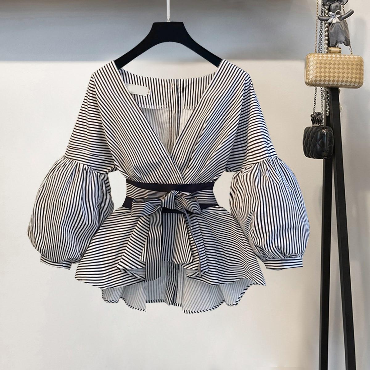 Lantern Sleeve Blouse Shirt Women 2018 Fashion Korean Style Summer Bow V-neck Striped Shirt Elegant Ladies Tops Female Clothing