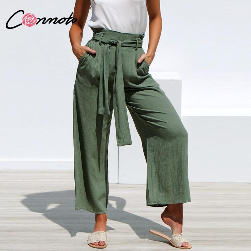 Conmoto 2019 Summer High Waist Wide Leg Sashes Pants Women