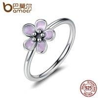 BAMOER Light Purple Elegant 925 Sterling Silver Finger Rings For Women High Quality Engagement Jewelry Anelli
