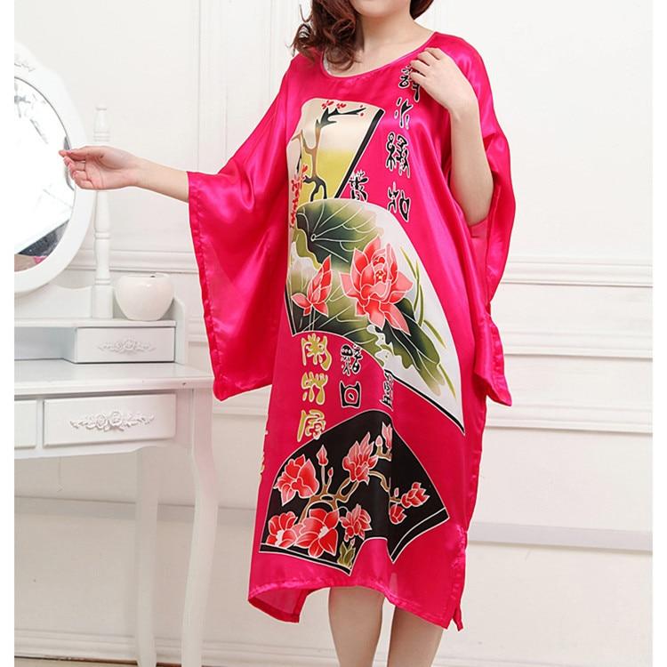 Novelty Hot Pink Ladies Robe Spring Chinese Women Rayon Sleepwear Kimono Bath Gown Nightgown Flower One Size Mujer Pijama W4S077