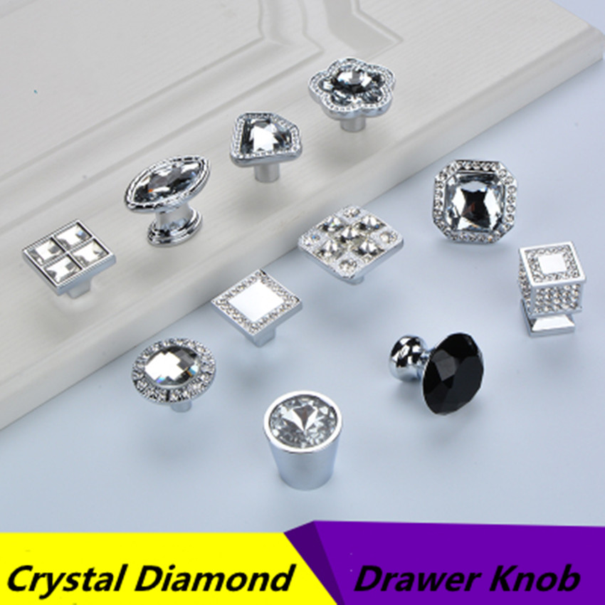 Modern Simple Fashion Crystal Rhinestone Drawer Shoe Cabinet Tv Cabinet Bathroom Cabinet Cupboard Knob Pull Handle Square Knob