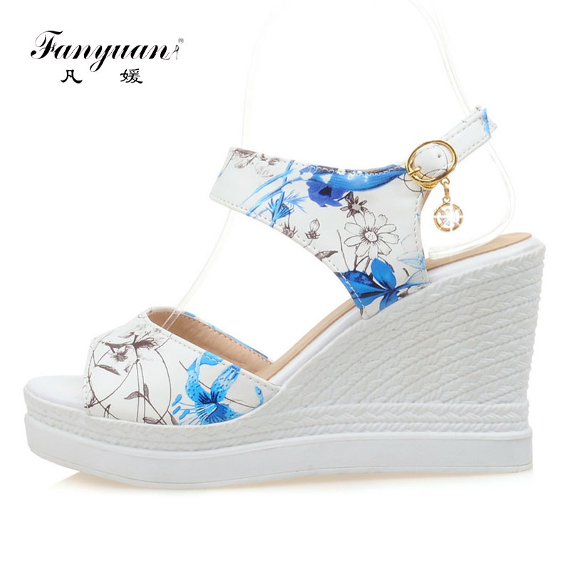 Fanyuan New Ladies Shoes Women Sandals Summer Open Toe Sweet flower Fashion Platform High Heels Wedge Sandals Female Shoes 2018new arrival ladies party shoes women sandals summer open toe fashion platform high heels brand designer sandals female shoes