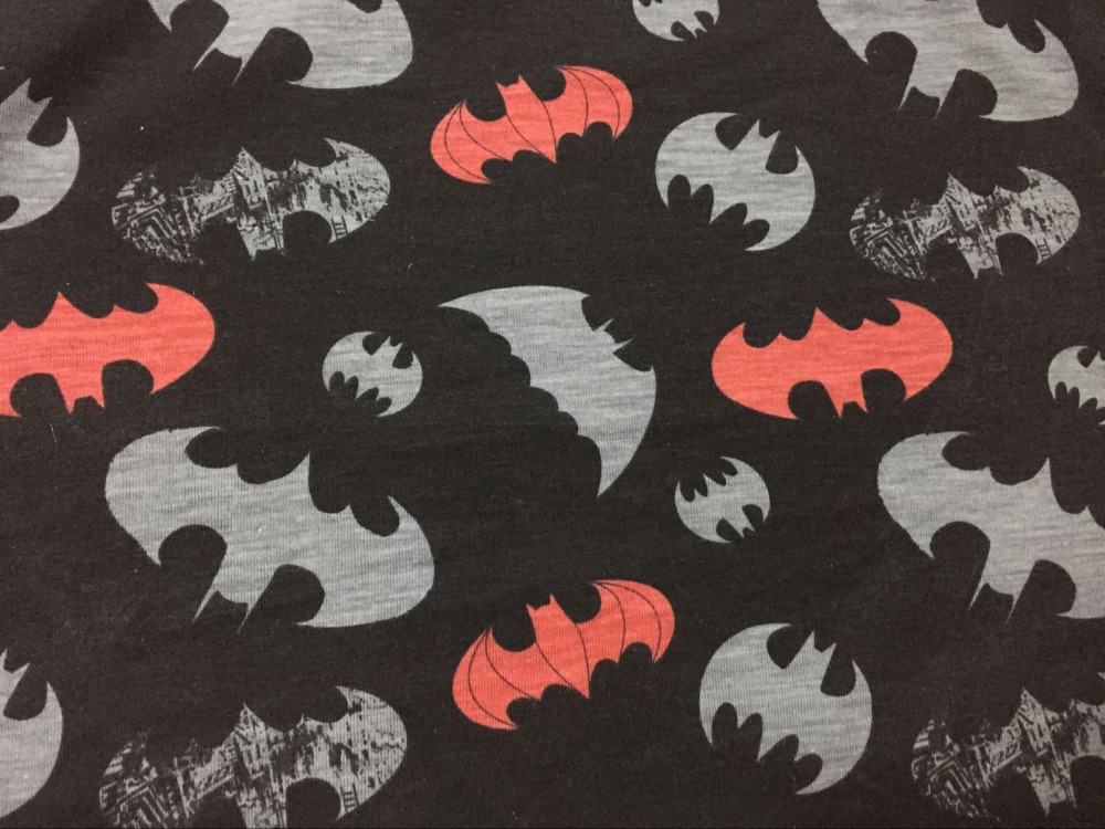 Cartoon printing dyeing black Batman Knitted Cotton Fabric For Sewing Diy Patchwork Father-Son Clothes, Children's Clothing
