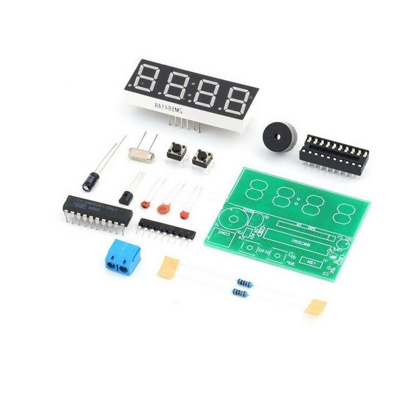 1 pcs AT89C2051 Digital 4 Bits Electronic Clock Electronic Production Suite DIY Kit diy with black case metal detector electronics suite electronic production of bulk production