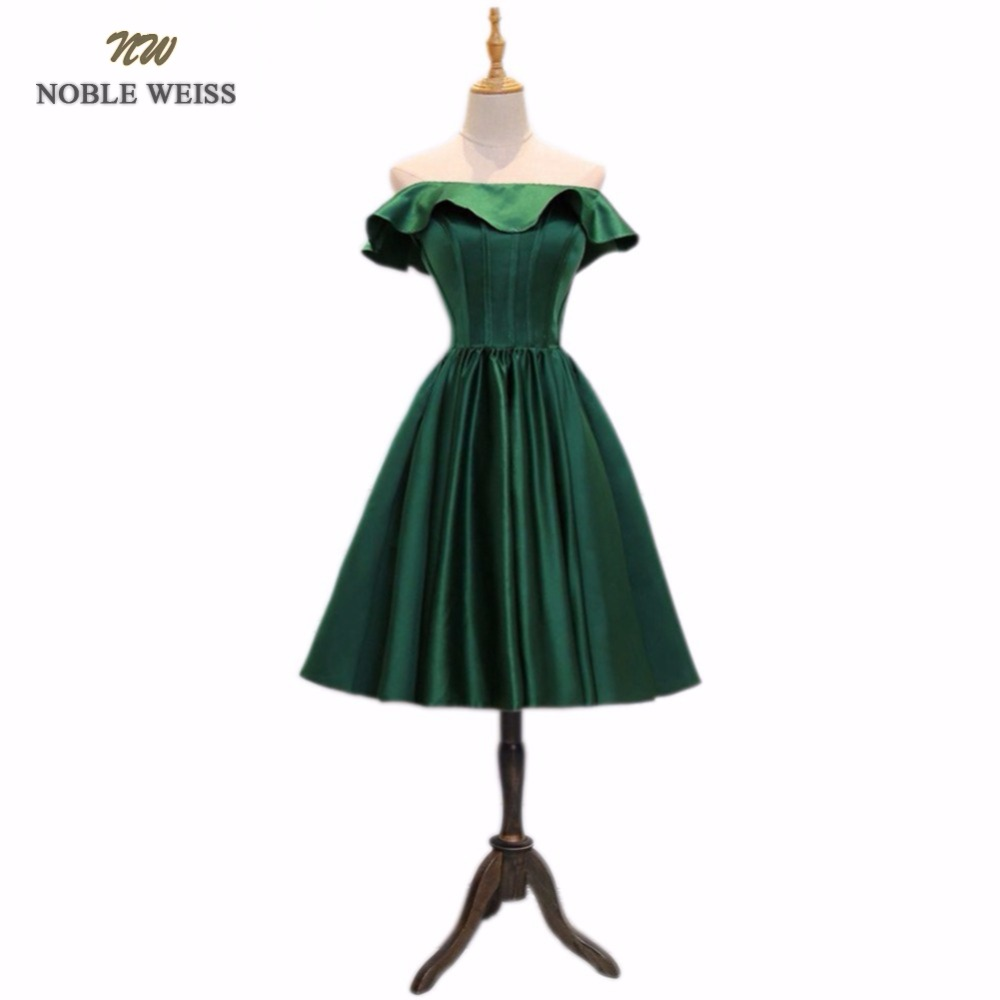 NOBLE WEISS New Style fashion Knee-Length quality green party   dresses   vestido de novia lace up boat neck a-line   prom     dress