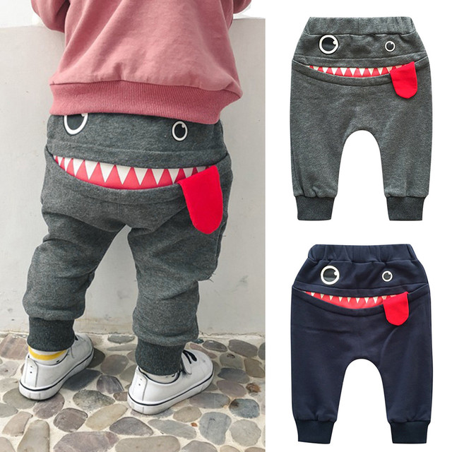 Baby Children Kids Boys Autumn And Winter Fashion Clothing Cartoon Shark Tongue Harem Pants Trousers Casual  Pants F325