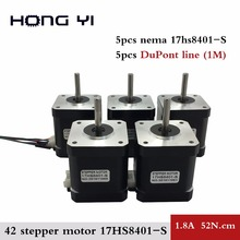 Free Shipping 5pcs 4-lead Nema17 Stepper Motor 48mm / 78Oz-in / 1.8a motor 1.7A 17HS8401-S motor for 3D printer with DuPont line
