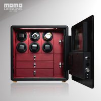 HOTSALE Watch safe 6 Automatic Watch Winder Safe Box LCD control Including 3 tray for jewel storage MADE by Real leather