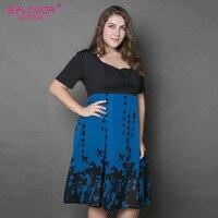 S FLAVOR Brand Women Summer Patchwork Dress 2017 Women Chiffon Casual Maxi Size 5XL 6XL Dress