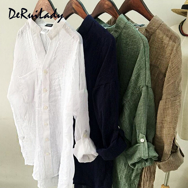 DERUILADY Harajuku Loose Cotton Linen Blouse Spring Summer Three Quarter Sleeves Shirt Women Top Plus Size Shirts Casual clothes 1