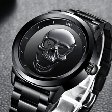LIGE Men Skull Watch Brand Luxury Stainless Steel Quartz Watches mens Business Fashion Waterproof Retro Clock Relogio masculino