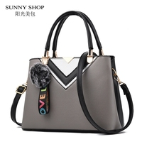 SUNNY SHOP Bags For Women 2017 Fashion Handbag With Plush Ball Charm Office Lady Women Messenger