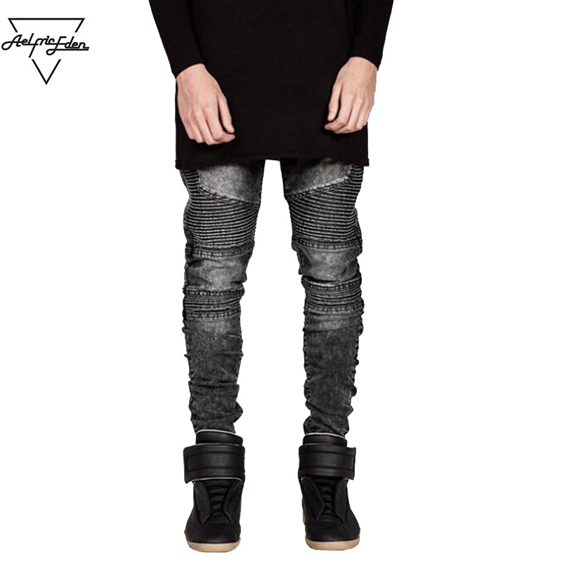 Aelfric Eden Hip-hop Men Black Blue White Jeans Masculina Casual Denim Distressed Men Slim Jeans Destroyed men Pants Skinny Rock 2017 men s slim jeans pants hip hop men jeans masculina black denim distressed brand biker skinny rock ripped jeans homme 29 40