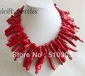 18 ''50 MM Dendríticas Filial Coral Vermelho Colar