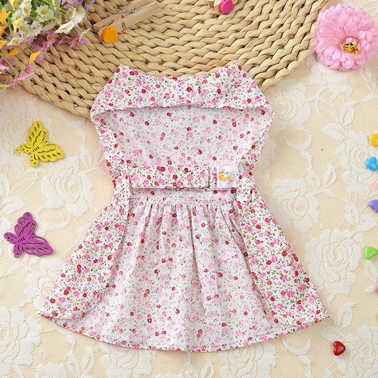 Cute Dog Dress Summer Soft Cotton Printing Bow Pet Puppy Clothes 6