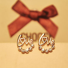 Gold Color Hollow Love Stud Earring Women Crystal Earings Zircon Rhinestone Letter Charm Fashion Ear Jewelry Accessories(China)