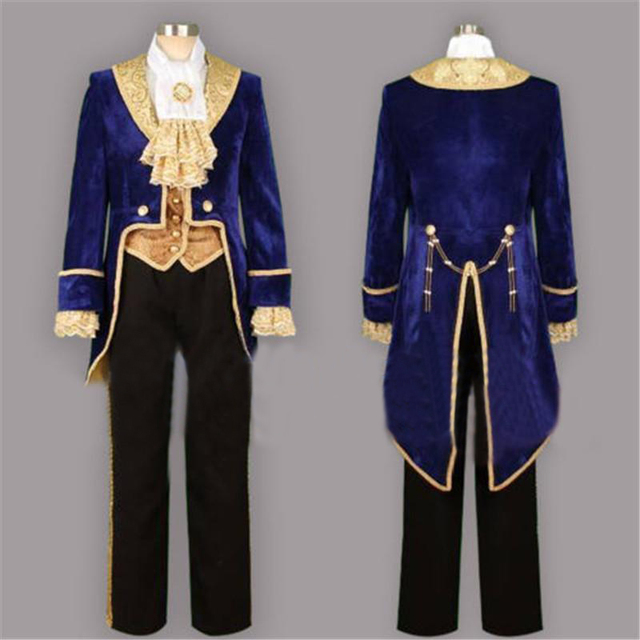 Movie Beauty And The Beast Prince Tuxedo Cosplay Costume Stage Custom Made Suit Full Set