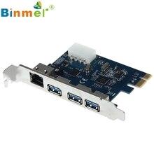 Дель Gigabit Ethernet СЕТЕВОЙ АДАПТЕР 3 Порта USB 3.0 для PCI-E Карты PC Адаптер Конвертер Mar10