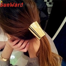 2017 Lovely Jewelry Metal Big Gold/Silver Plated Elastic Ponytail Holder Women Hair Clip for lady girl Hair Ring accessories