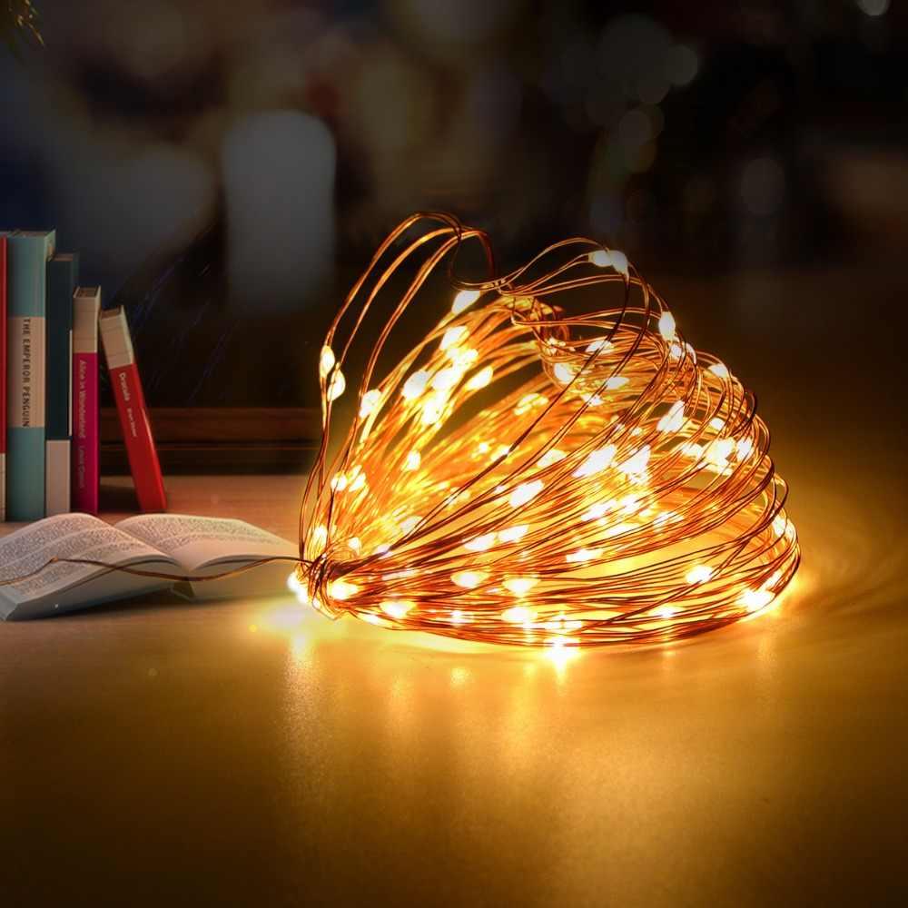 2 м 5 м 10 м светодио дный строка огни медным проводом ночной стол Настольные светильники Фея елочные украшения огни гирлянды светодио дный огни