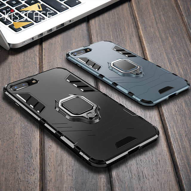 brand new 4acc2 72d5b KISSCASE Armor Phone Case for iPhone X XS Max XR Cases With Finger Ring  Holder Shockproof Cover For iPhone 7 8 Plus 5s 6s Case
