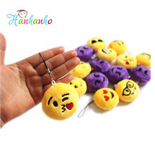 1piece 5cm High Quality Novetly Emoji Small Pendant Smiley Emoticon Soft Plush Toys Key&Bag Chain Phone Strap Promotion Gift