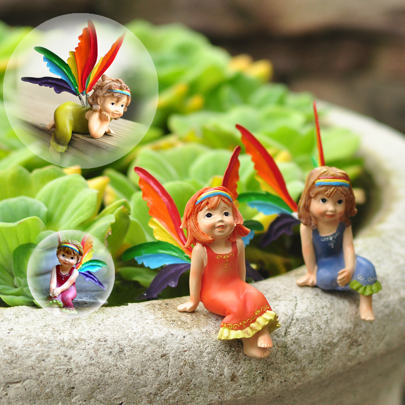 Home Table Decoration Small Cute Resin Doll Fairy Children Room Scene Decor Lying Flower Fairy Angel Figurines Kids Gifts