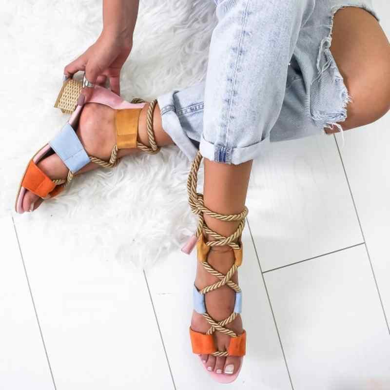 Laamei 2019 ใหม่ Wedge Espadrilles ผู้หญิงรองเท้าแตะส้นสูงปลาปากรองเท้าแตะกัญชาเชือกลูกไม้ขึ้นแพลตฟอร์ม Sandal