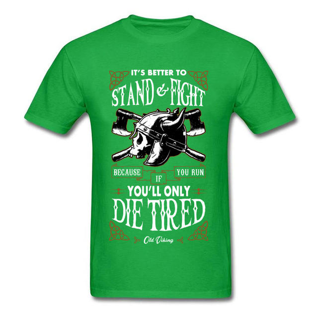 STAND AND FIGHT OLD VIKING SKULL T-SHIRT (10 VARIAN)