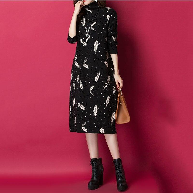 Femmes pull à col roulé tricot robe en cachemire 2019 printemps automne nouvelle robe de mode imprimer pull en vrac robe femme hiver NO653 - 5