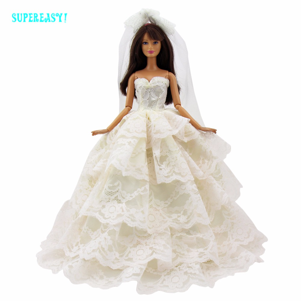 Fashion Handmade Dress Elegant Wedding Party Evening Gown Princess Veil Clothes For Barbie Doll Pretend Play Dollhouse Toys Gift leadingstar 2017 new wedding bridal dress princess gown evening party dress doll clothes fit for barbie doll for kids gift zk30