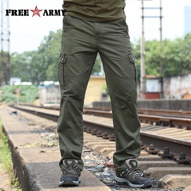 Libre de Marca Para Hombre Militar Del Ejército de Carga Pantalones Guardapolvos Otoño Verde Del Ejército Hombre Pantalones Multi-bolsillos Pantalones Rectos Hombres Pantalones Mk-788A