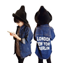 цена Spring Autumn Fashion Girls Jacket Children Clothes Denim Jackets Long Clothing Kids Coats Outwear For Girl 3-10yrs онлайн в 2017 году
