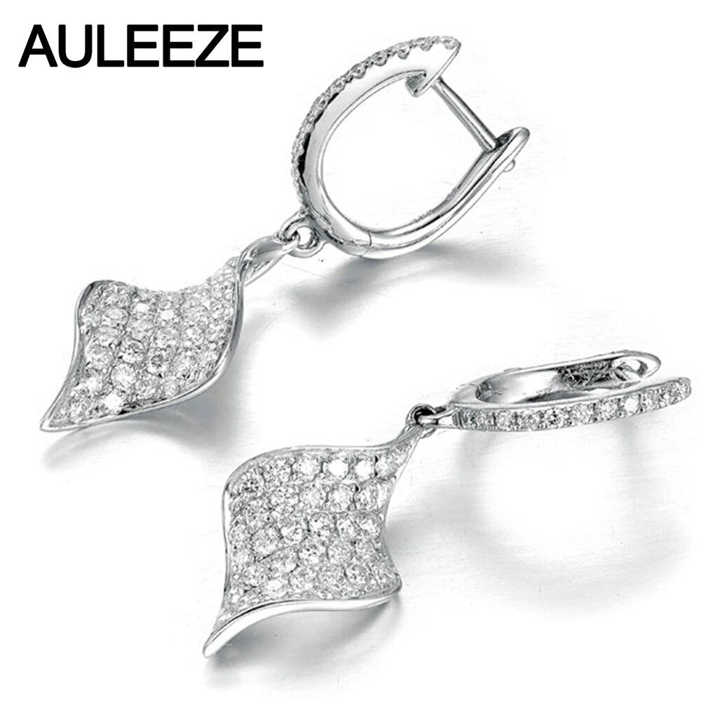 Luxury Round Cut Moissanite Earrings Solid 14K White Gold 1.65CTTW Lab Grown Diamond Drop Earrings Diamond 585 Gold Fine Jewelry geometric artificial diamond round shaped drop earrings