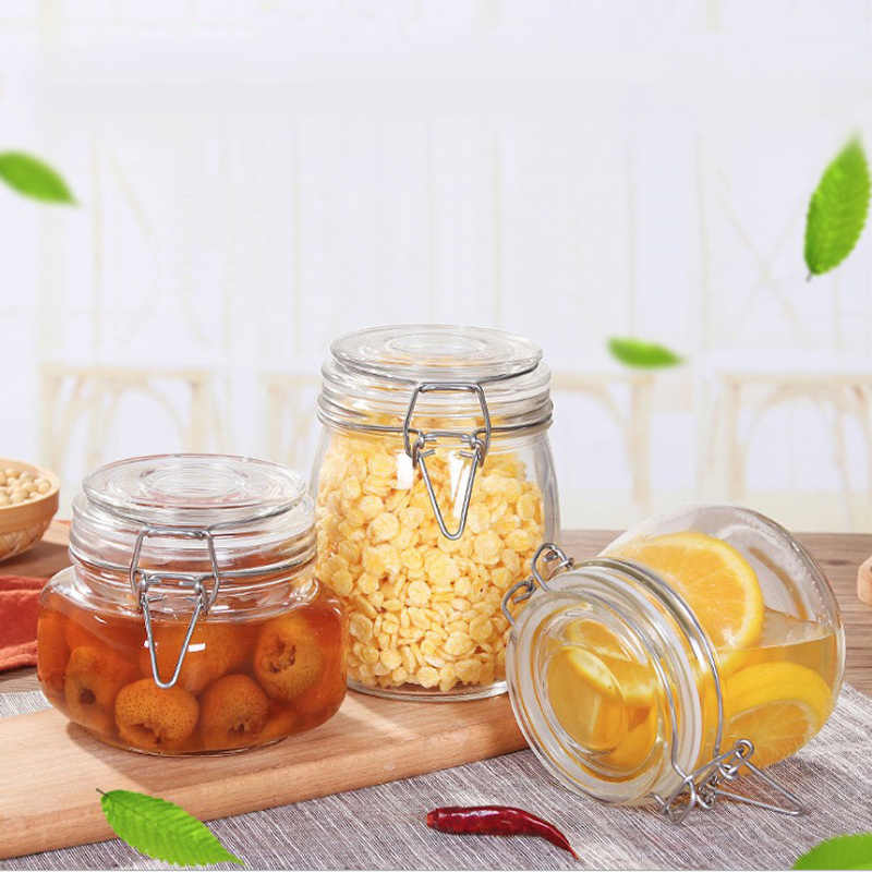 Quality Sealed Glass Jar Creative Transparent Kitchen Food