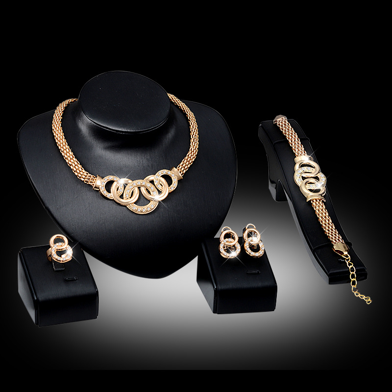 Fashion Love Gold Colour Jewelry Sets for Woman Zircon <font><b>Necklace</b></font> <font><b>Earrings</b></font> <font><b>Ring</b></font> <font><b>Bracelet</b></font> Valentine Engagement Party Jewelery image