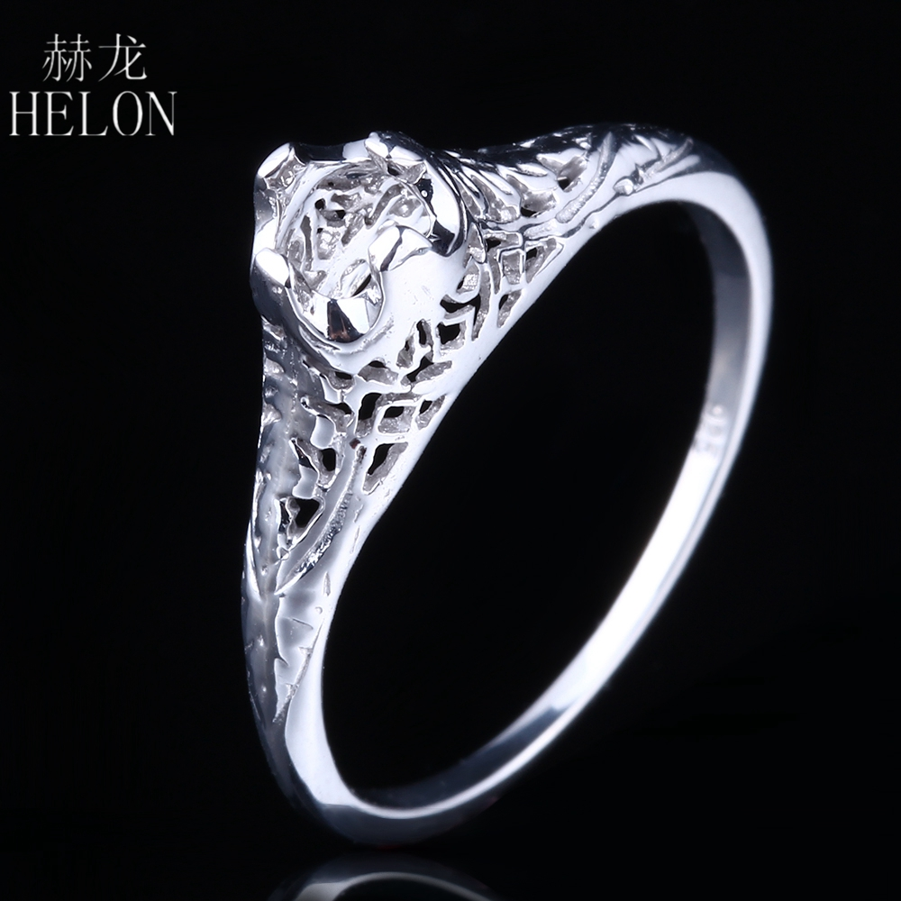 HELON Antique Solid 14K White Gold Semi Mount Vintage Jewelry Retro Ring 4mm Round Cut Womens Antique Jewelry Ring wholesale