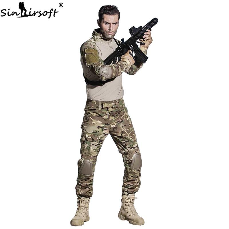 SINAIRSOFT Uniforme Militare Multicam Army Camicia di Combattimento Uniforme Tattico Pantaloni Con Ginocchiere Tuta Mimetica Vestiti Da Caccia