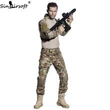 SINAIRSOFT Militaire Uniform Multicam Army Combat Shirt Uniform Tactische Broek Met Kniebeschermers Camouflage Pak Jacht Kleding