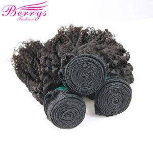 Image 2 - Brezilyalı Bakire Saç Sapıkça kıvırcık insan saçı 3 ADET Demetleri Kapatma ile 4x4 İşlenmemiş Saç Örgü Berrys Moda