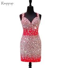 7fcdb3504 Brillante vestido de fiesta 2018 rebordeó cristales Backless africano  Backless rojo corto vestidos de baile