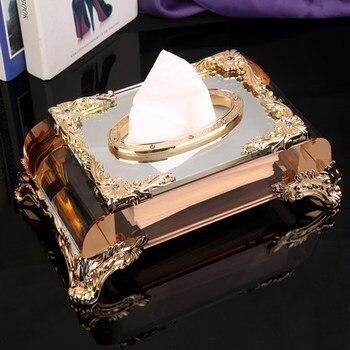 Crystal tissue box tray European creative napkins box living room storage box