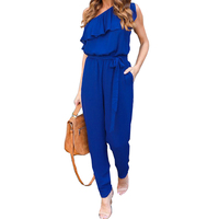 2017 Summer Ruffles Chiffon Jumpsuits Overalls Sexy Casual One Shoulder Long Playsuits Rompers Women Jumpsuit Plus